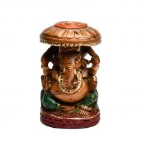 Hand Crafted Wood Carving Painting Ganesha 3 inch
