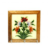 Hand Painted Wood Stone Wall Hanging Tile Square
